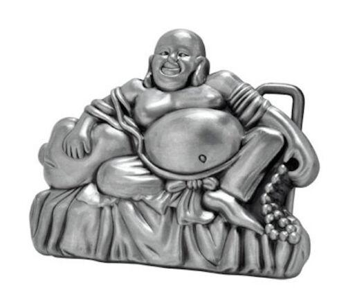Silver BuddhaBelly Buddhist smiling motorcycle biker belt buckle tattoo trucker