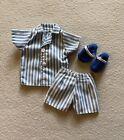 Ken 1998 Stylin Looks Blue Striped Pajamas Slippers Mattel