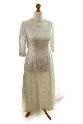 Consegna Veloce Vintage Orig 60er Abito Da Sposa Crema Satin Trascino Rockabella Vestito Da Sposa 42-mostra Il Titolo Originale