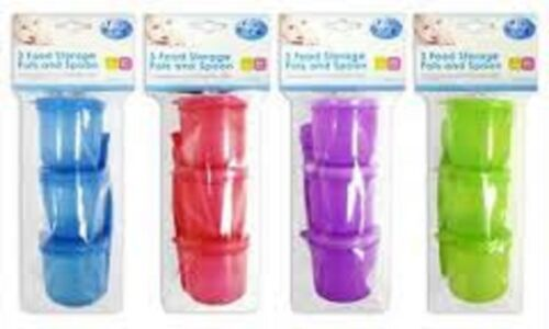 3 PK BABY CHILD TODDLERS FOOD STORAGE MICROWAVE SAFETY POTS AND SPOON WITH LIDS