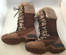 Lafuma Kokta Tall Nubuck Brown Leather Knee Fur Lined Boots LFG1859 US Size 9.5
