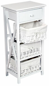 Details About 84cm Shabby Chic Bedside Lamp Table 3 Wicker Basket Storage Unit White Cabinet