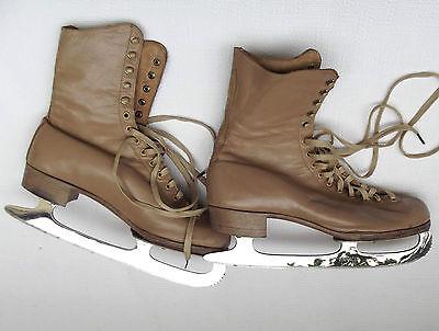 Vintage ice skates Leather skating boots Pinnacle blades 5 1/2 Winter sports