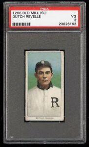Rare-1909-11-T206-Dutch-Revelle-Old-Mill-Southern-League-Richmond-PSA-3-VG