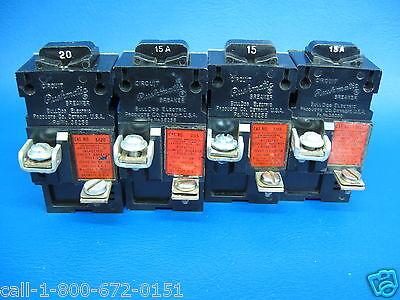 Lot of 4 Pushmatic Single Pole Breakers 3-20 Amp #31120 /& 1-15 Amp #31115