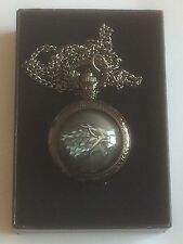 Vintage Game Of Thrones Stark Style Pocket Watch Chain Pendant Necklace Gift Box