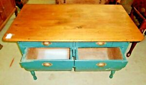 Antique Old Finish Possum Belly Baker Table Cabinet