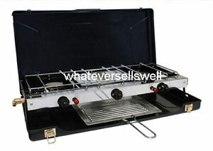 Port til doble cocina de gas con grill 2 burner para for Cocina de gas portatil