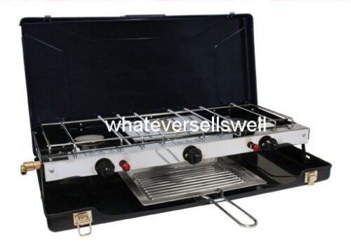 PORTABLE DOUBLE GAS COOKER WITH GRILL 2 burner for camping w electronic ignition