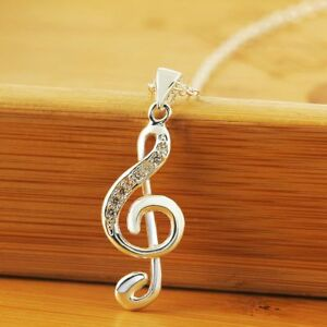 Navidad-Moda-Joyas-Crystal-Collar-Colgante-de-nota-musical-Cadena-de-plata-nuevo