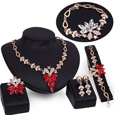 Women's Wedding Bracelet Necklace Jewelry Set Crystal Favorite Ring Earrings