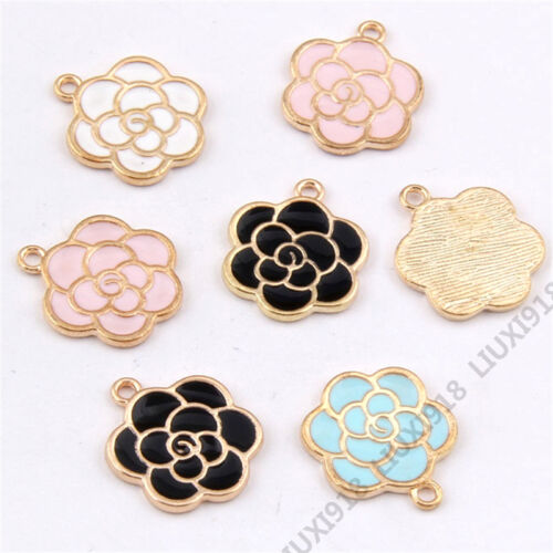 Enamel Charms Flower shape Pendant Jewelry Making Small Pendants Crafts 966Y