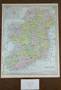 IRELAND-1900-Vintage-Atlas-Map-11-034-x14-034-Old-Antique-LEINSTER-DONEGAL-GALWAY