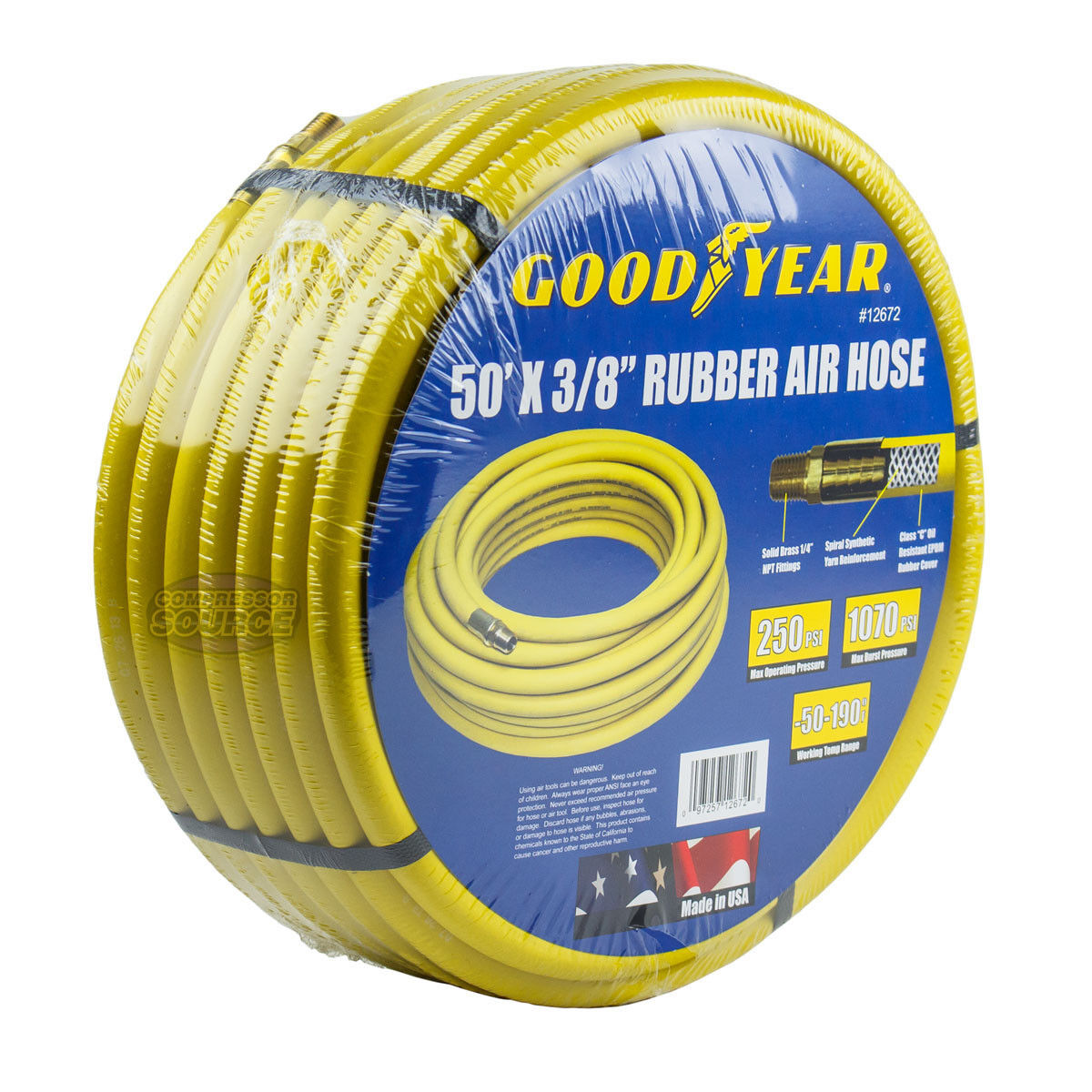 Goodyear Rubber Air Hose 50' ft. x 3 8  in. 250 PSI Air Compressor Hose 12672