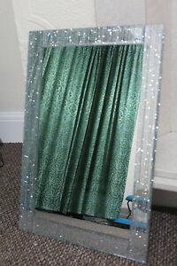 Large Silver Glitter Frame Wall Mirror Silver Sparkle Girls Room Mirror New Ebay