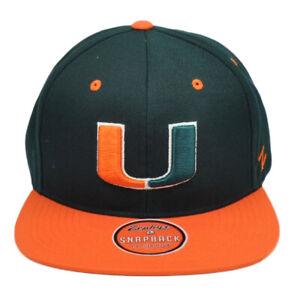 NCAA-Zephyr-Miami-Hurricanes-Bastones-Verde-Naranja-Gorra-Plana-Bill