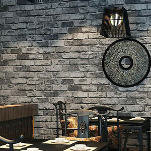 Image Is Loading 3D Rustic Grey Black Brick Wallpaper Roll Stone
