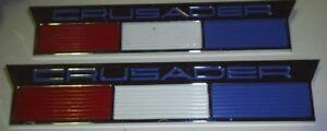 PAIR OF Chris Craft Crusader Nameplate Emblems  NOS