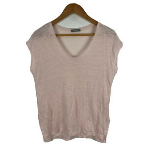 Studio-W-Womens-Linen-Top-Size-Small-Nude-Pink-Short-Sleeve-V-Neck