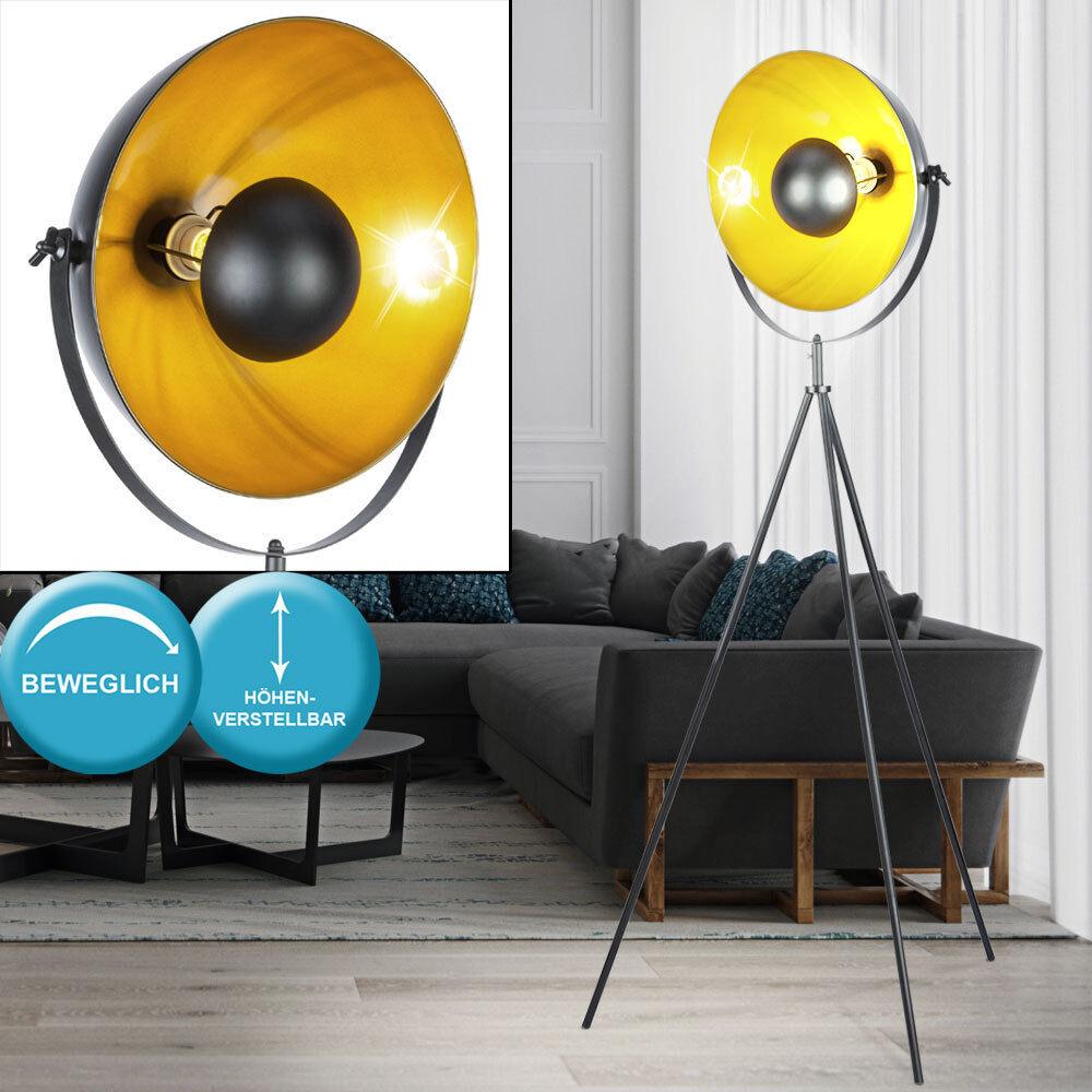 Stativ Steh Lampe Schein Werfer Design Wohn Zimmer Stand Leuchte schwarz Gold