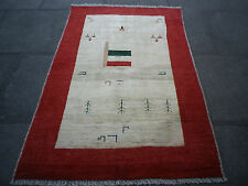 Old Nomadic Hand Made Persian Oriental Gabbeh Red Cream Wool Rug 152x102cm