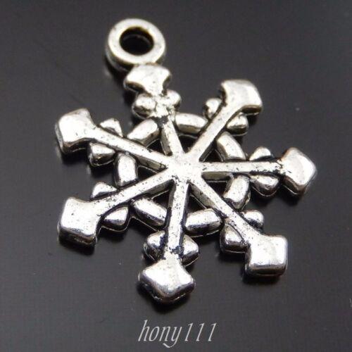 80pcs Vintage Style Silver Alloy Snowflake Pendant Charms Decoration 39722