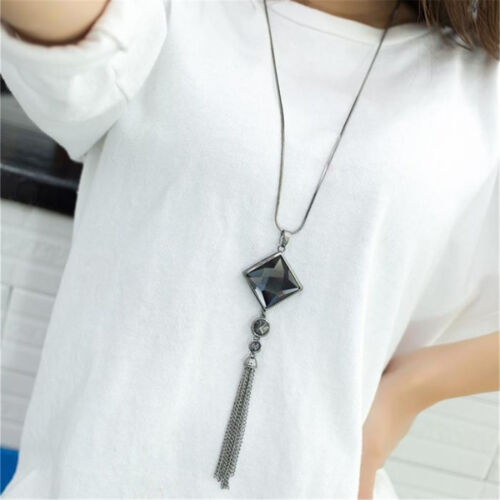 Fashion Women Long Chain Sweater Tassel Pendant Necklace Square Big Drop Crystal