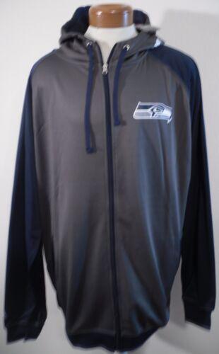 NWT Majestic Seattle Seahawks B/&T Mens Raglan Full-Zip Hoodie 3XLT Charcoal $80