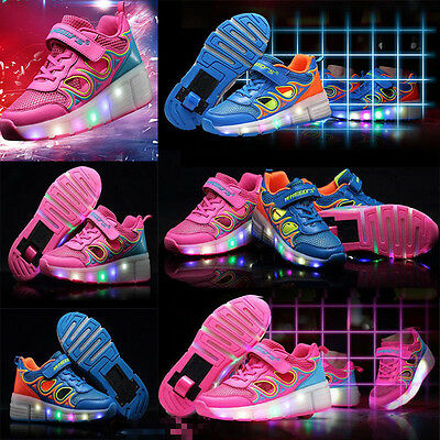LED Light Roller Skate Shoes Kids Sneakers With Wheels Girls/Boys UK ALL SIZE