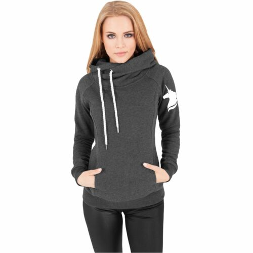 Donne Hoodie con a collo alto Unicorn Einhorn HORSE CAVALLO Design Trend Fashion