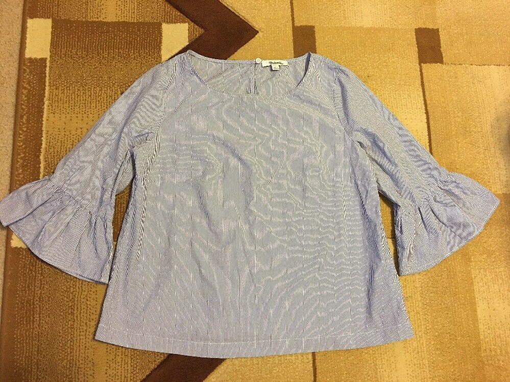 NWOT Madewell Weiß Blau Striped Bell-sleeve Top Sz S G1368