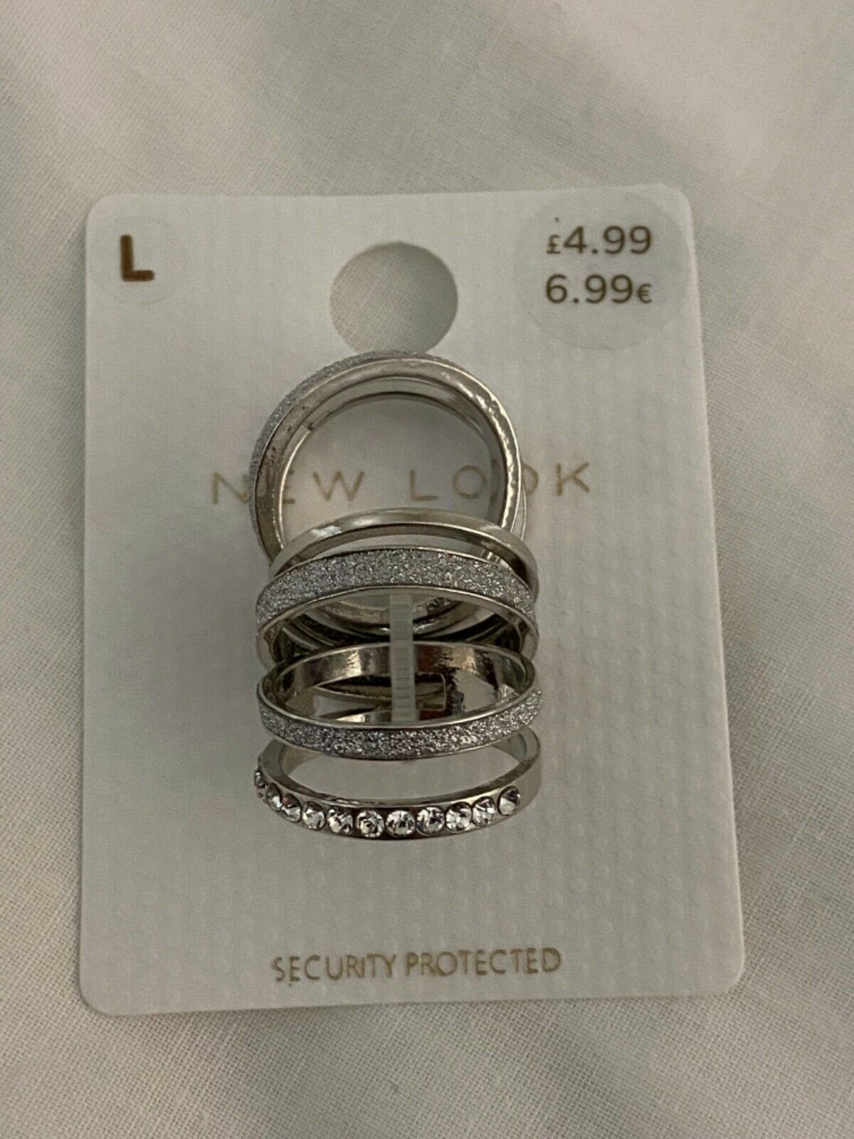 New with tags Glitter Tape Ring PK 5 pack New Look Size L.