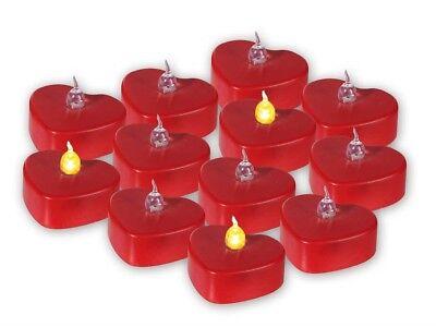 12 BOUGIES COEUR LED ROUGE X3.3 CM LUMIGNON FETE EVENEMENT ST VALENTIN NOEL