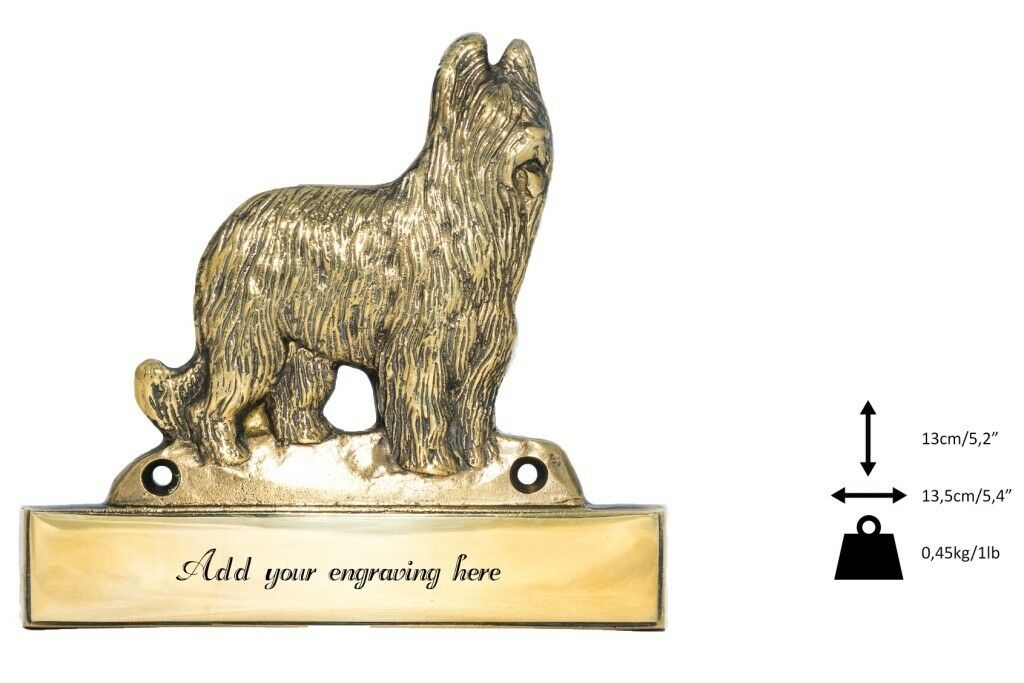 Briard - brass tablet  Welcome  with image of a dog, Art Dog type 2