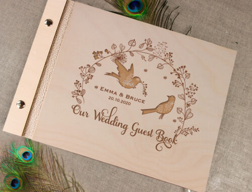 Photo Album Rustic with Laser Engraved Names Wooden Wedding Guest Book