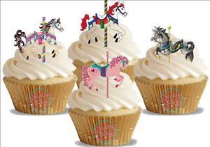 12 Novelty Carousel Horse Mix Edible Cupcake Cake Toppers