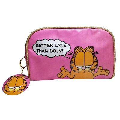 Official Garfield Better Late Than Ugly Wash Bag an Mirror - Make Up Toiletries