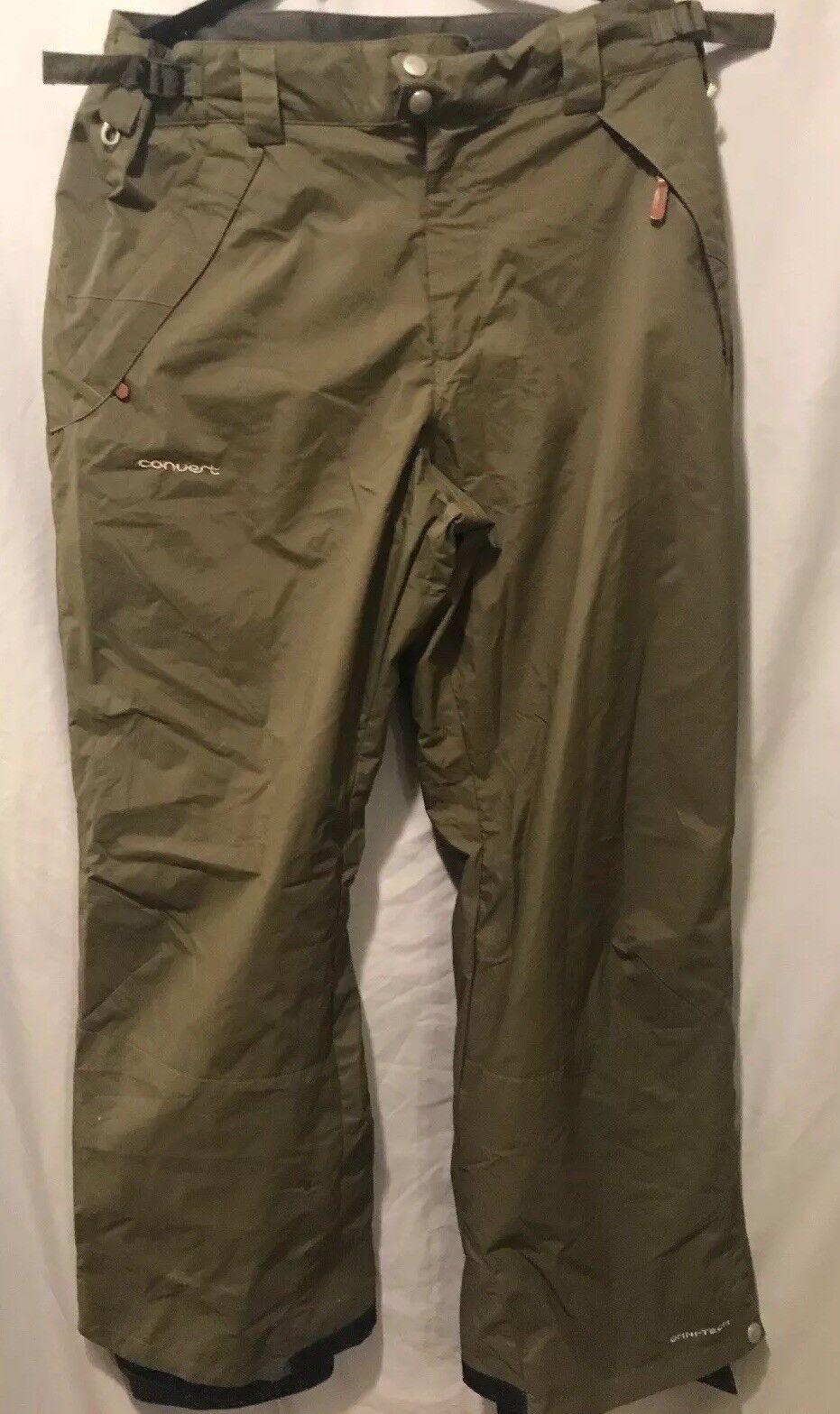 COLUMBIA Congreen Omni-Tech Nylon Ski Snow Pants Mens Large Khaki Green TS8