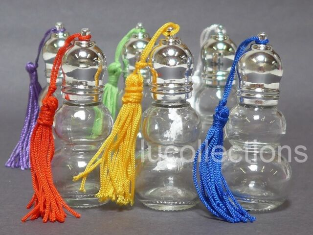 6 Clear Glass Bottles 10ml Gourd Bottle with Tassel Perfume Essential Oil H140