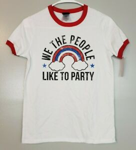 Modern Lux Women's Top White Short Sleeve We The People 4th of July Shirt S M