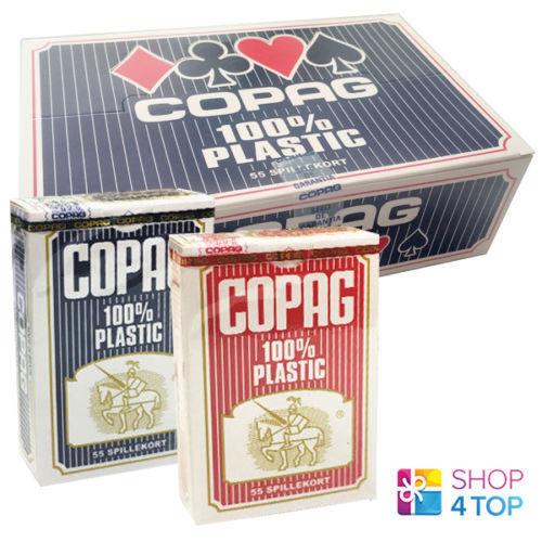 12 cubiertas Copag Bridge Talla 6 azul 6 rojo 100% de plástico de tarjetas póker nuevo