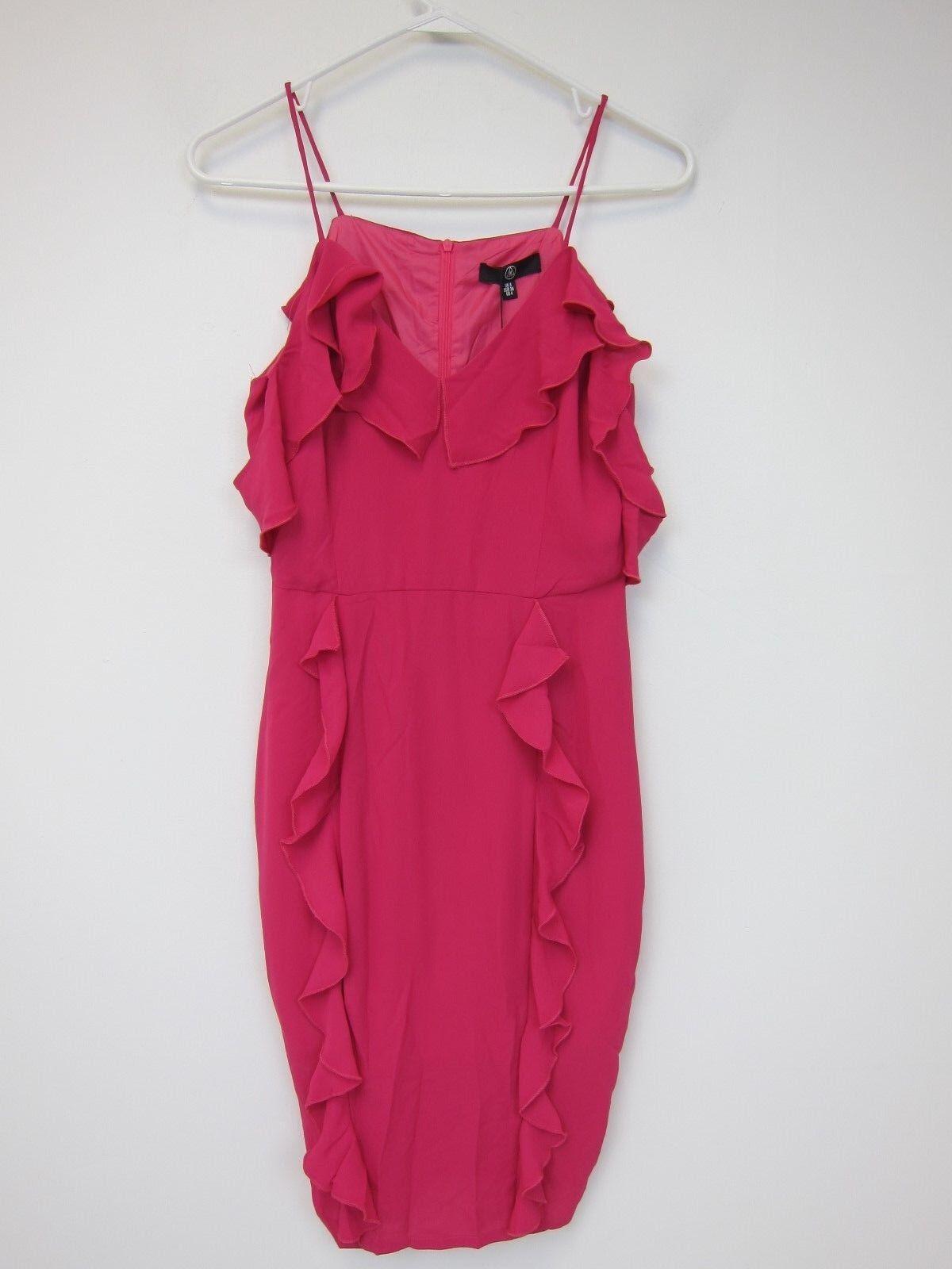 Missguided Frill Cold Shoulder Midi Dress - Womens US 4 - Fuchsia - NWT