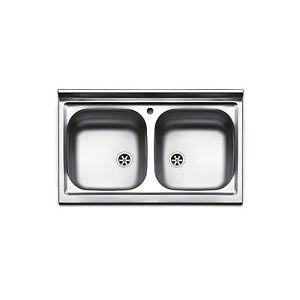 Lavello appoggio cucina acciaio inox lavandino da 80 cm 2 bocche ...