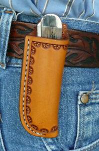 Medium-Leather-Pocket-Knife-Pouch-Sheath-Ruff-s-Saddle-Shop-Border-Tooled-Tan