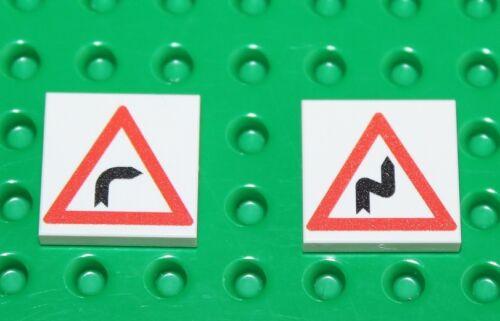 Lego 2x Carreau Blanc Imprimé Personnalisé 2x2 route signer de nouveaux 11!!!