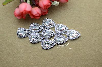 1 pcs Costume Wedding Dress Applique Crystal Rhinestine Sewing On(A334)