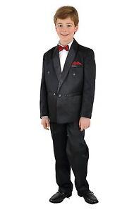5tlg Kinderanzug Frack Anzug Smoking Kombination Hochzeit Taufe 110 weiss