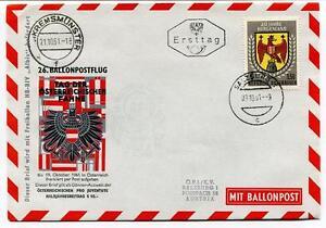 1961 Ballonpost N. 26 Pro Juventute Pallone Aerostato Hb-biv Albis Kremsmunster ArôMe Parfumé