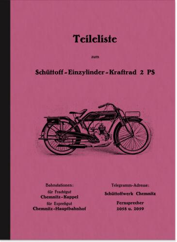 SCHÜTTOFF 2 2,75 PS 1925 Pièce De Rechange Liste catalogue de pièces de rechange parts list catalogue