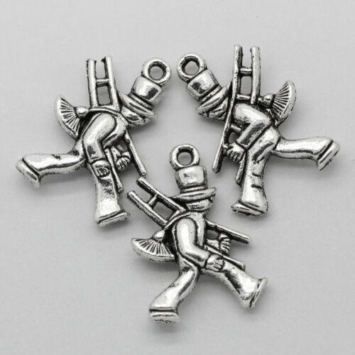 Sonderposten Charm Anhänger Schornsteinfeger Glückbringer Antik Silber 20x14mm